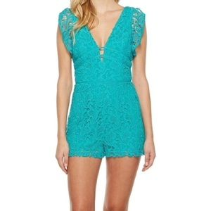 Adelyn Rae turquoise lace romper large nwt